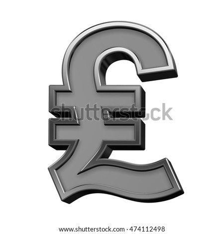 Pound sign from gray with silver frame alphabet set, isolated on white. 3D illustration.