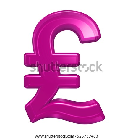 Pound sign from pink glass alphabet set, isolated on white. 3D illustration.