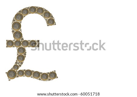 pound sign made out of coins on white background