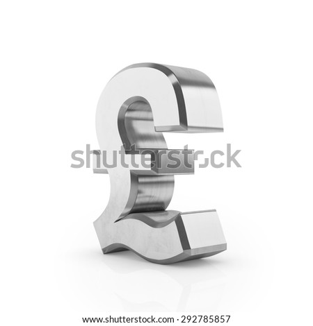Pound silver sign 3D render on white background. Currency icons. Sign for banking business.