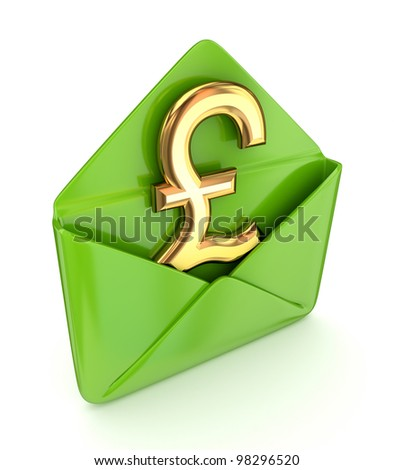 Pound sterling sign in a green envelope. - stock photo