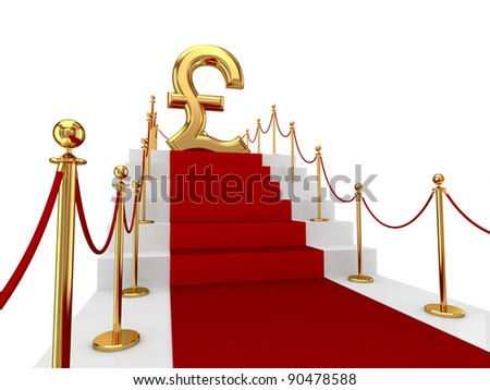 Pound sterling sign on a red carpet.Isolated on white background.3d rendered. - stock photo