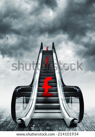 Pound symbol on escalators. Currency concept, inflation and deflation, finance and exchange rate. - stock photo