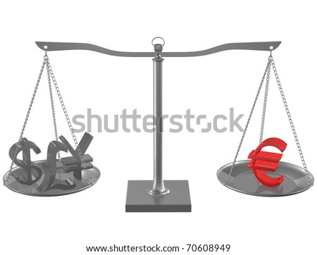 Pound, Yen, Dollar and red Euro on Silver balance on white isolated background - stock photo
