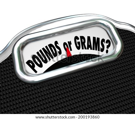 Pounds or Grams words on a display of a scale to illustrate units of measure