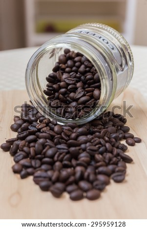 pour coffee beans
