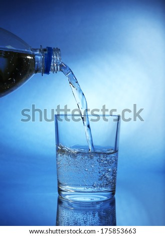 Pour water from bottle into  glass, on dark blue background