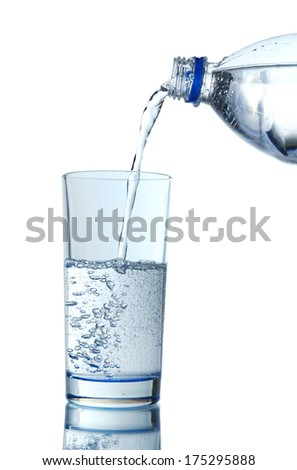 Pour water from bottle into  glass, on light blue background