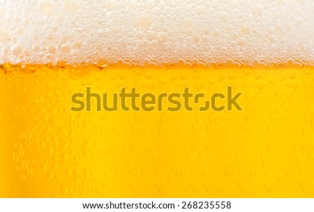 Poured beer with foam