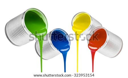 poured from cans colorful paints isolated - stock photo