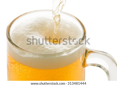 pouring beer to glass isolated on white background - stock photo