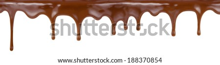 pouring chocolate dripping from cake top isolated on white background - stock photo