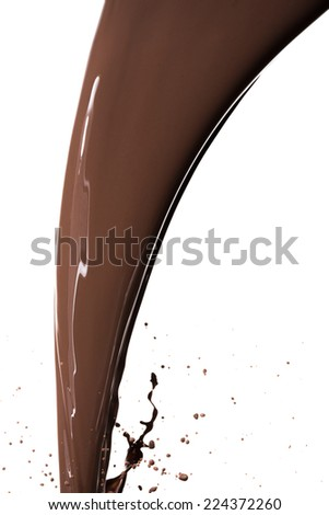 pouring chocolate syrup, isolated on white background - stock photo