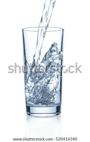 Pouring clear water in glass on white background