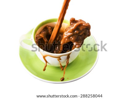 pouring coffee into the cup - stock photo