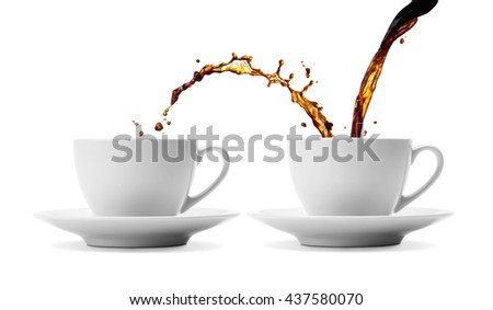 pouring coffee showing the concept of sharing - stock photo