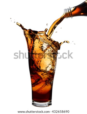 Pouring cola from bottle into glass with splashing., Isolated white background. - stock photo
