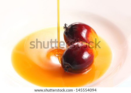Pouring cooking oil on white background with oil palm fruits - stock photo