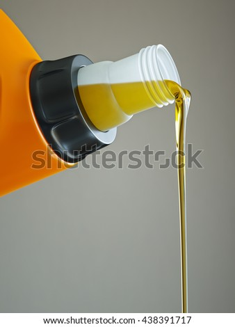 Pouring engine oil close-up isolated on grey background 3d illustration