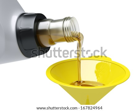 Pouring engine oil through funnel on white background - stock photo