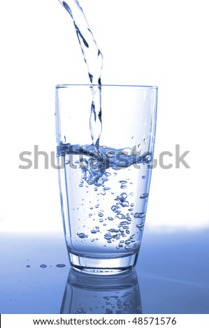 pouring fresh water in a glass on white