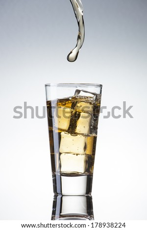 Pouring ice tea in to glass