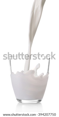 Pouring milk in glass, isolated on white - stock photo