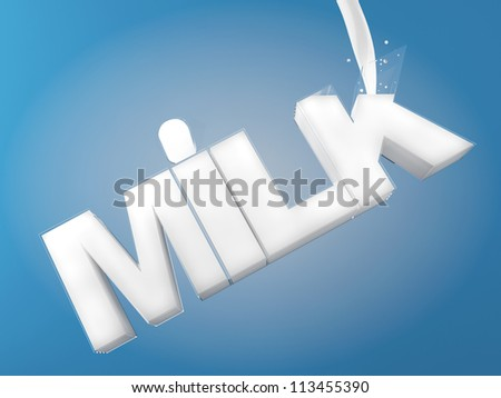 Pouring milk into a milk shaped glass with clipping path - stock photo