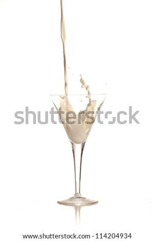 Pouring Milk Into Glass Isolated On White Background - stock photo