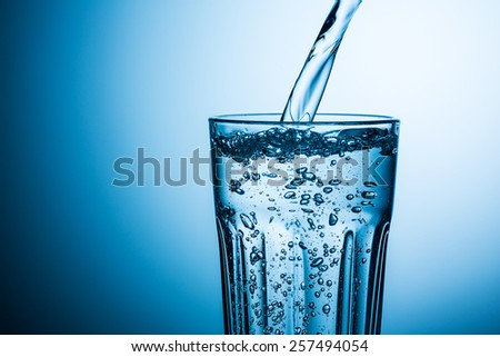 pouring mineral water in to a glass