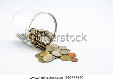 Pouring money box on a white background