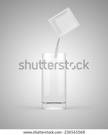 Pouring powdered medicine into glass of water - stock photo