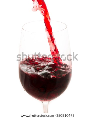 pouring red wine from bottle in the glass