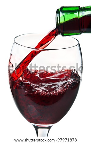 pouring red wine isolated on a white background - stock photo