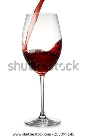 Pouring Red Wine with clipping path - stock photo