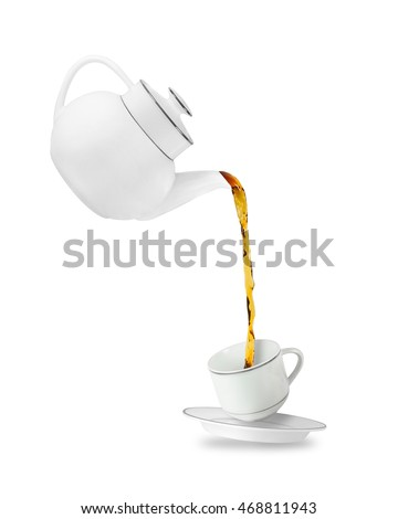 Pouring tea in tea cup. Teapot and cup isolated on white background
