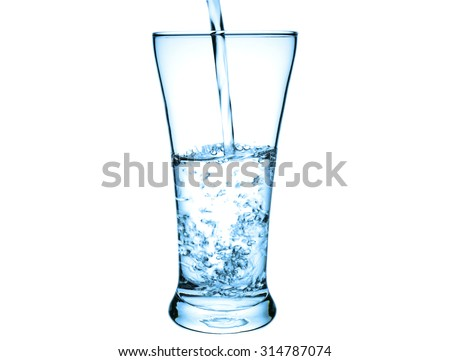 Pouring water in the glass with color filter effect on isolated background