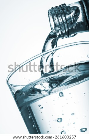 pouring water into glass from a bottle, on white background