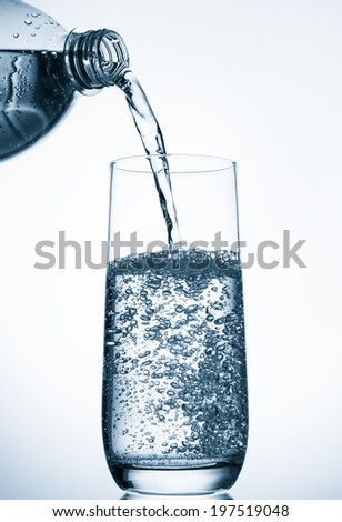 Pouring water into glass  from bottle on blue background