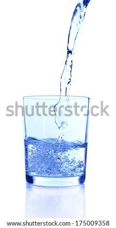 Pouring water into glass on blue background