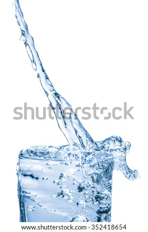 pouring water into glass, water splashing from glass