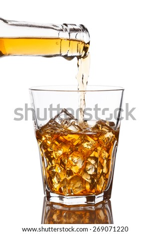 Pouring whiskey into glass with ice