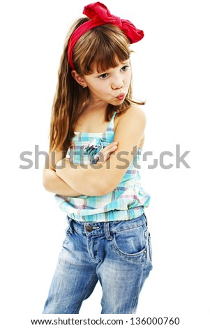 Pouting little girl. Isolated on white background - stock photo