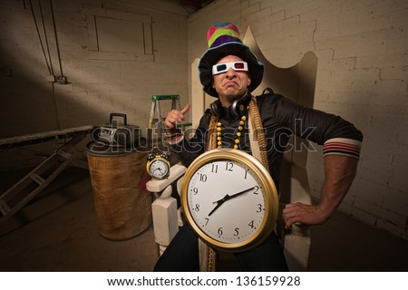 Pouting rapper in throne with large hat and clock - stock photo