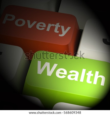 Poverty And Wealth Computer Keys Showing Rich Against Poor 3d Rendering