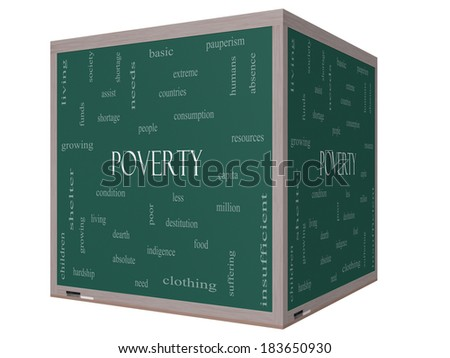 Poverty Word Cloud Concept on a 3D cube Blackboard with great terms such as poor, condition, people and more. - stock photo