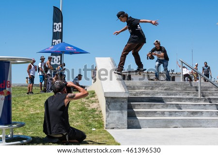 POVOA DE VARZIM, PORTUGAL - JULY 24, 2016: Thiago Monteiro during  the 2nd Stage of DC Skate Challenge by Moche.