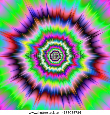 POW! / Digital abstract fractal image with a color explosion design in blue, red, pink yellow and green.