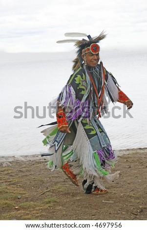pow wow dancer - stock photo