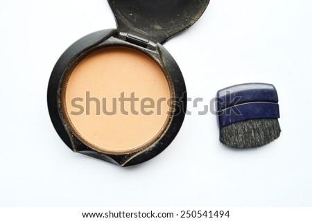 powder,blush on white background - stock photo